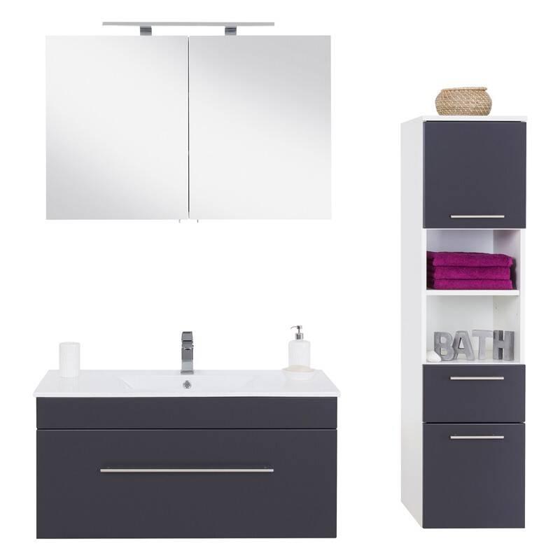 Badmöbel-Set mit Hochschrank und 100cm Waschtisch Keranik LAGOS-02 Seidenglanz anthrazit, B x H x T ca. 152 x 195 x 47,2cm