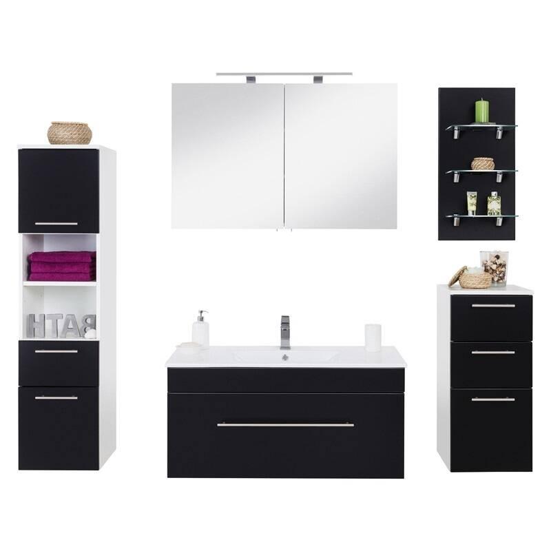 Badmöbel Waschplatz Set LAGOS-02 (5-teilig) Seidenglanz schwarz, B x H x T ca. 200,4 x 195 x 47,5cm