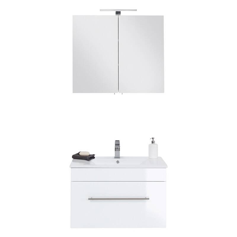 Badmöbel Waschplatz 75cm Keramik Waschtisch und LED-Spiegelschrank Set LAGOS-02 Hochglanz weiß, B x H x T ca. 75 x 195 x 46,3cm