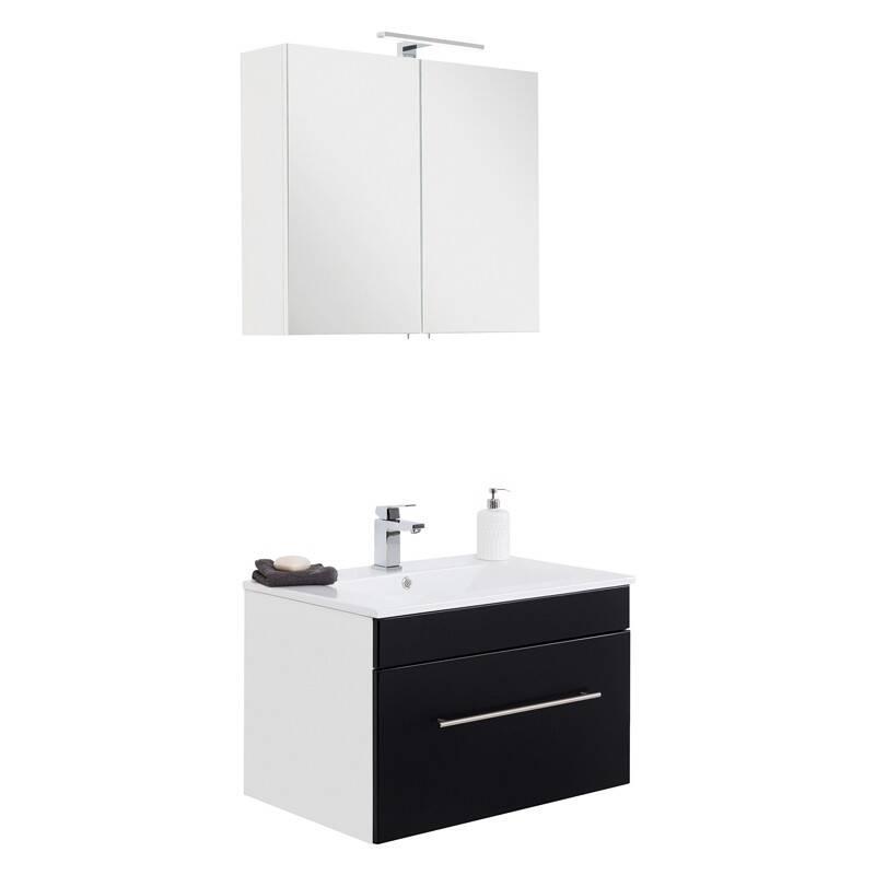 Badmöbel Waschplatz Set mit Keramik Waschtisch LAGOS-02 Seidenglanz schwarz, B x H x T ca. 75 x 195 x 46,3cm