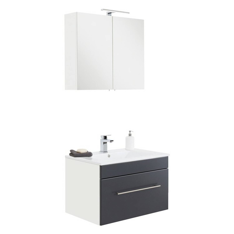 Badmöbel Keramik Waschtisch und Spiegelschrank Set LAGOS-02 Seidenglanz anthrazit, B x H x T ca. 75 x 195 x 46,3cm