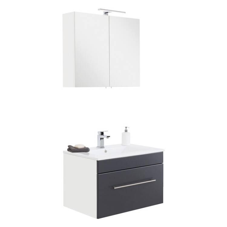 badm bel keramik waschtisch und spiegelschrank set la. Black Bedroom Furniture Sets. Home Design Ideas