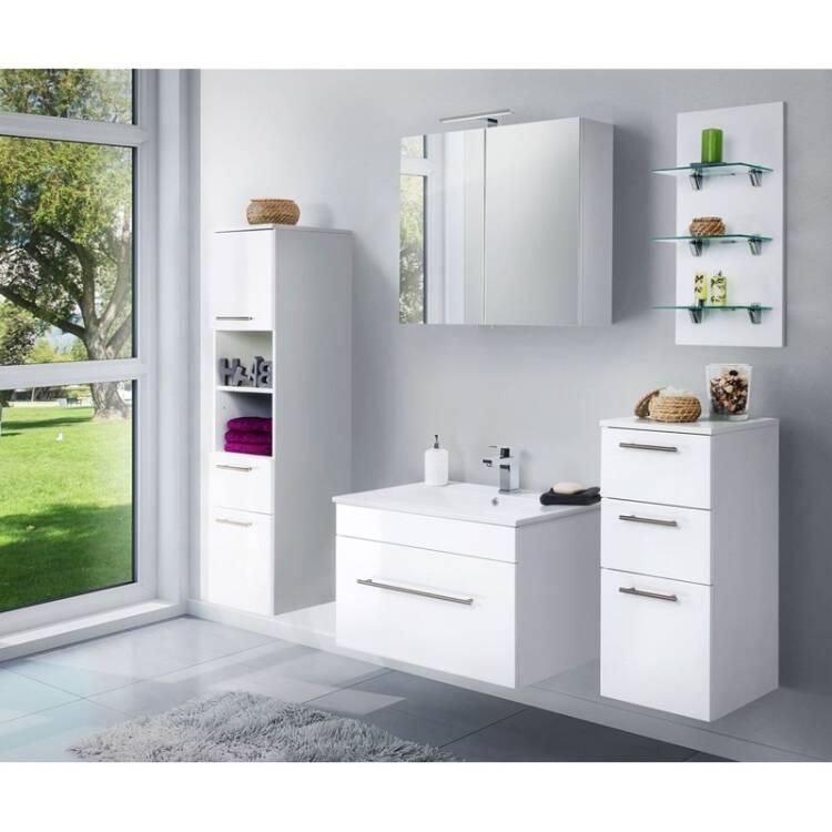 badezimmer m bel set lagos 02 hochglanz wei 75cm ke. Black Bedroom Furniture Sets. Home Design Ideas