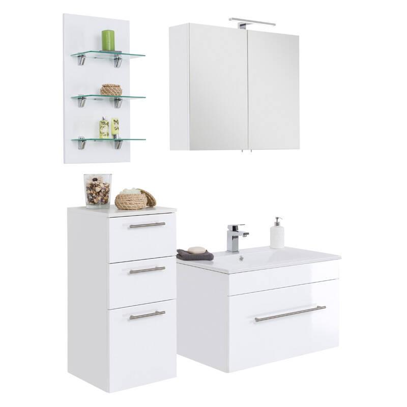 Badmöbel-Set mit 75cm Keramik-Waschtisch und LED-Regal LAGOS-02 Hochglanz weiß, B x H x T ca. 125 x 195 x 48cm