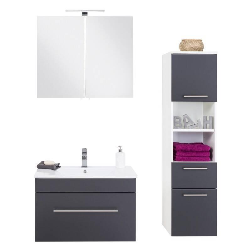 Badmöbel Set in Seidenglanz anthrazit LAGOS-02 mit Keramikwaschtisch und LED-Spiegelschrank, B x H x T ca. 125 x 195 x 46,3cm