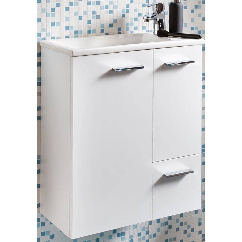 Wasschtisch-Unterschrank mit Keramik Waschbecken in Kreideweiß, B x H x T ca. 50 x 60 x 25cm MARCEY-04