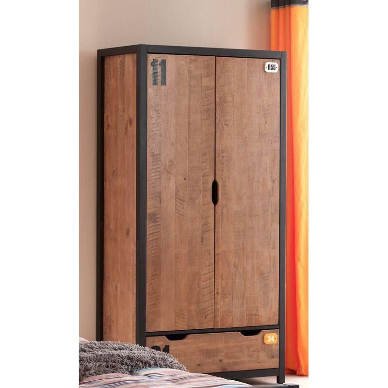 Kleiderschrank 2-trg. mit Schubkasten CUSCO-12, cognacfarbig, schwarz, B x H x T ca. 100 x 200 x 55cm