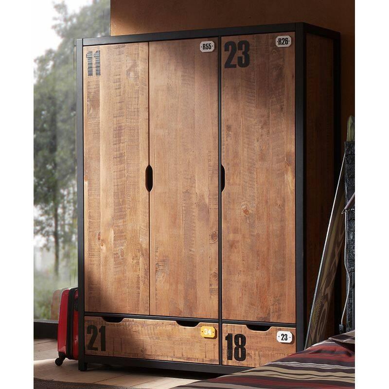 Kleiderschrank 3-trg. mit 2 Schubkästen CUSCO-12, cognacfarbig, schwarz, B x H x T ca. 148 x 200 x 55cm