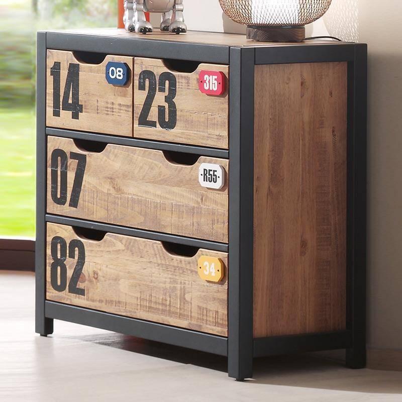 Kommode mit 4 Schubladen CUSCO-12, cognacfarbig, schwarz, B x H x T ca. 86 x 83 x 42cm