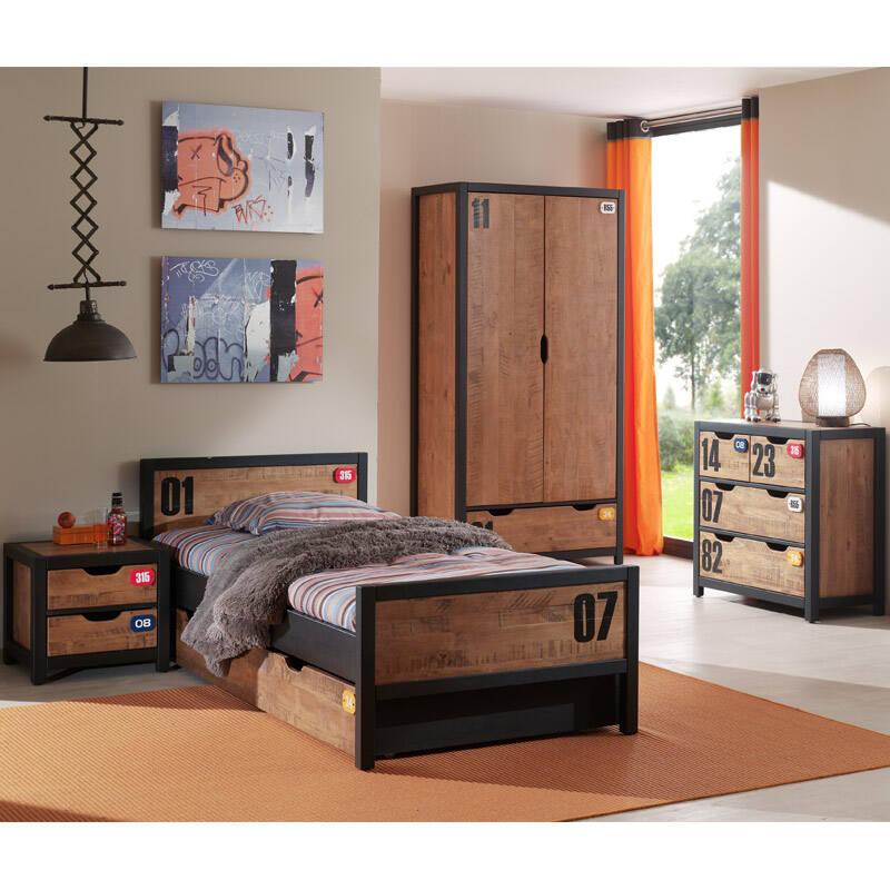 Jugendzimmer Set mit Einzelbett 90x200, Nachttisch, Bettschublade, Kleiderschrank 2-trg. und Kommode, CUSCO-12, Massiv cognacfarbig, schwarz, B x H x T ca.374 x 200 x 55cm