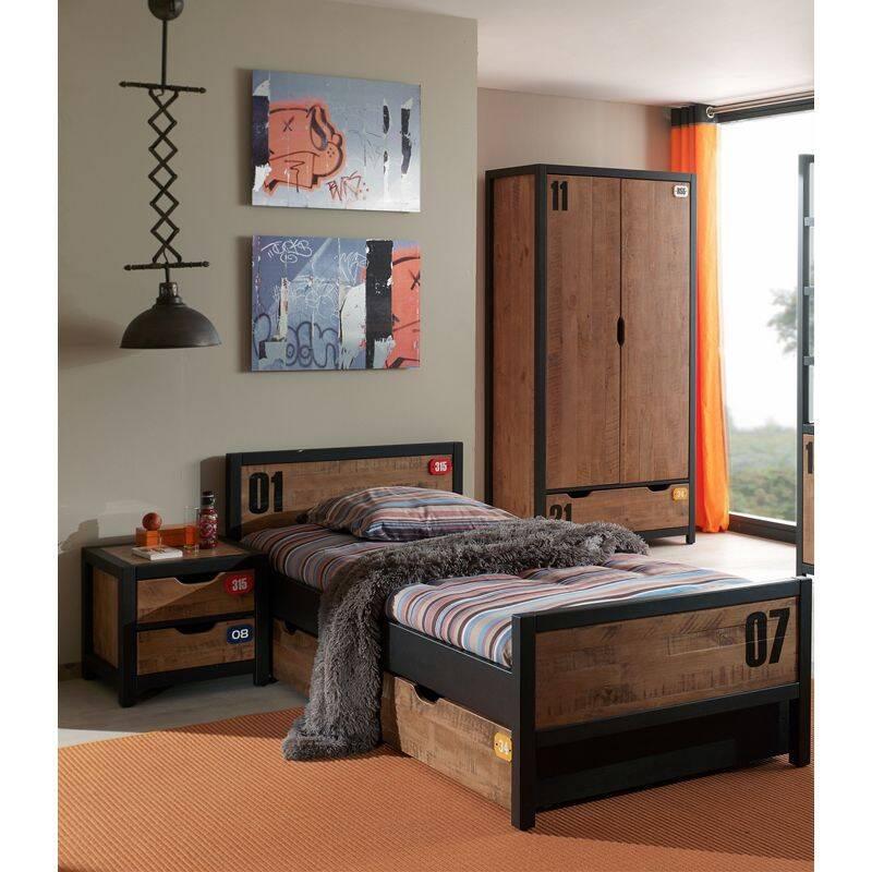 Jugendzimmer Set massiv CUSCO-12 mit Nachtkonsole, Einzelbett 90x200, Bettschublade, Kleiderschrank 2-trg., cognacfarbig, schwarz, B x H x T ca. 0 x 200 x 55cm