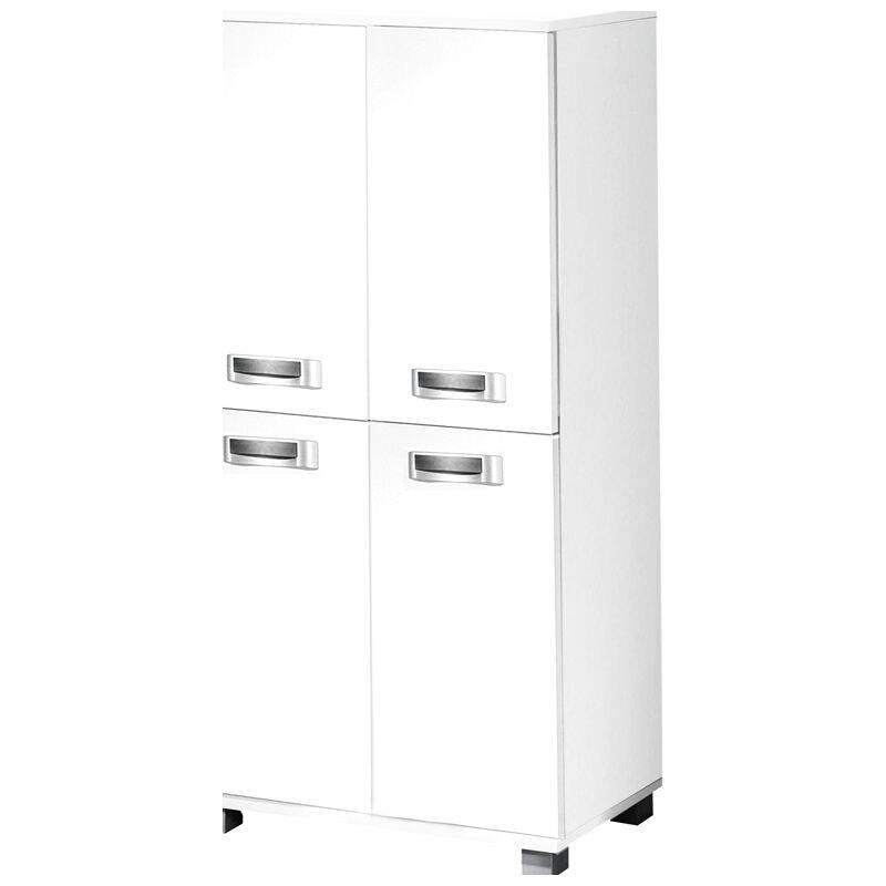 Badezimmer-Möbel Highboard mit 4 Türen CAEN-04, perl weiß, B x H x T ca. 59,8 x 116,9 x 32,6cm