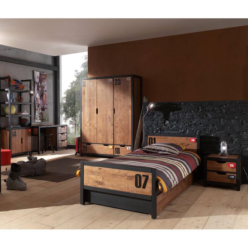 Jugendzimmer Set massiv cognacfarbig Nachtkonsole, 90x200cm Einzelbett, Bettschublade, Schreibtisch und Kleiderschrank 3-trg. CUSCO-12 B x H x T ca. 561 x 200 x 55cm