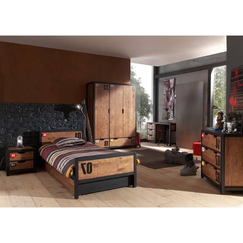 Jugendzimmer Komplettset massiv cognacfarbig, 90x200cm Einzelbett mit Bettschublade, Nachtkonsole, Schreibtisch, Kleiderschrank & Kommode CUSCO-12 B x H x T ca. 561 x 200 x 55cm