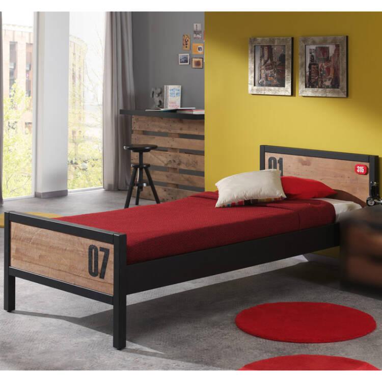 jugendzimmer komplettset massiv cognacfarbig 90x200cm einzelbett mit
