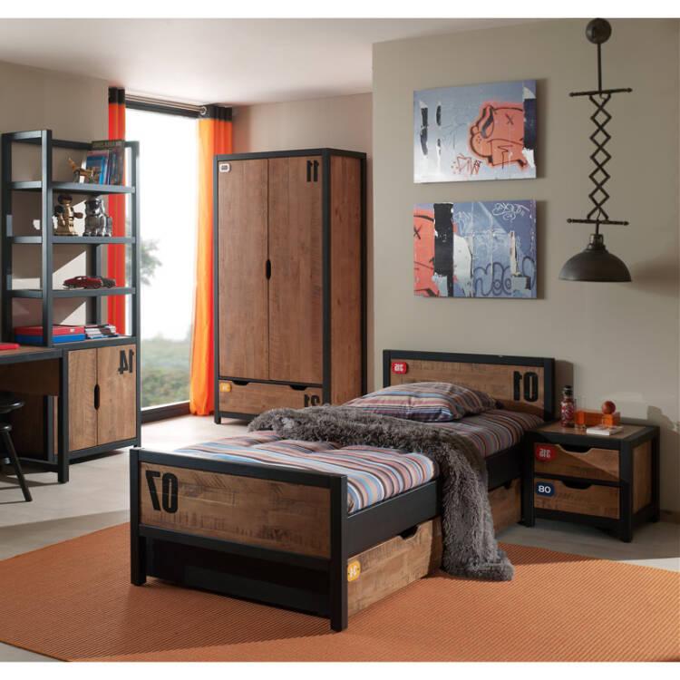 Jugendzimmer Set Mit Einzelbett 90x200 Nachttisch Bettschublade Kl