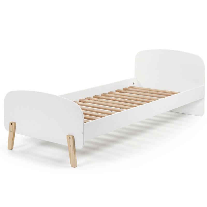 Einzelbett Jugendbett SLIGO-12 90x200 cm Lack weiß mit massiven Füßen, inkl. Lattenrost, B x H x T ca. 205,5 x 72,5 x 95cm