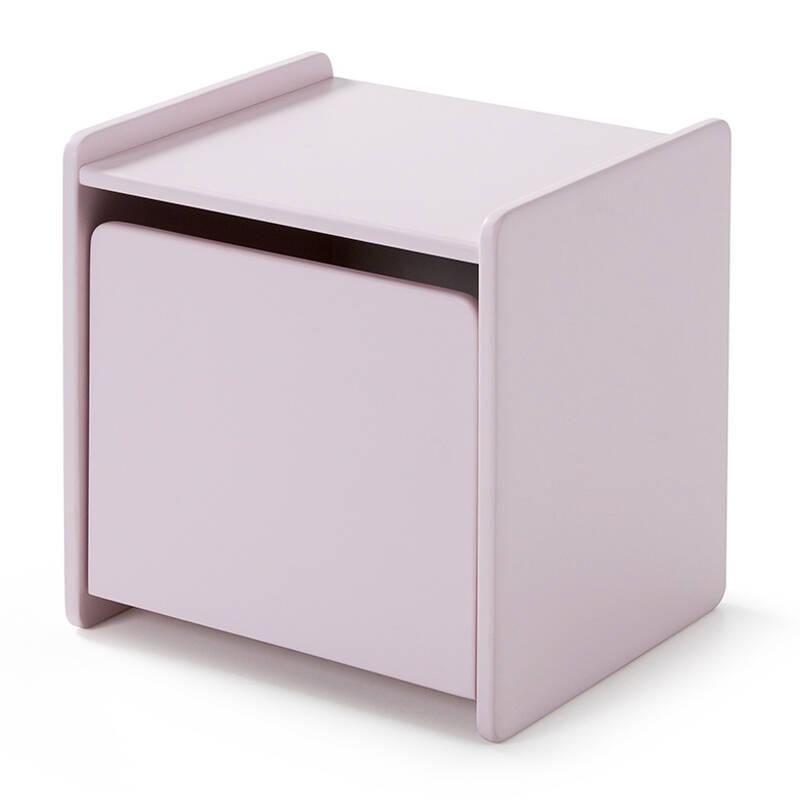 Nachttisch SLIGO-12 mit 1 Tür rosa lackiert B x H x T ca. 40 x 41 x 36cm