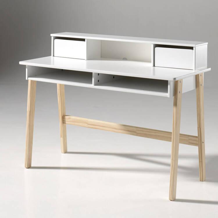 schreibtisch mit 2 schubladen sligo 12 mdf wei lack. Black Bedroom Furniture Sets. Home Design Ideas