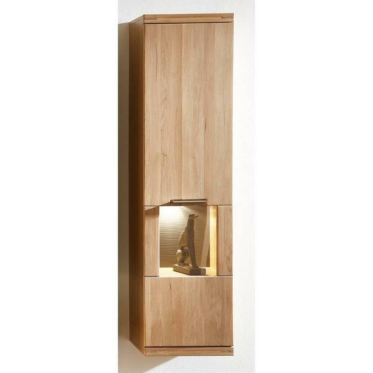 Hanging showcase incl. LED lighting in wild oak Bianco BOZEN-36 solid wood fronts W/H/D 40x156x37cm