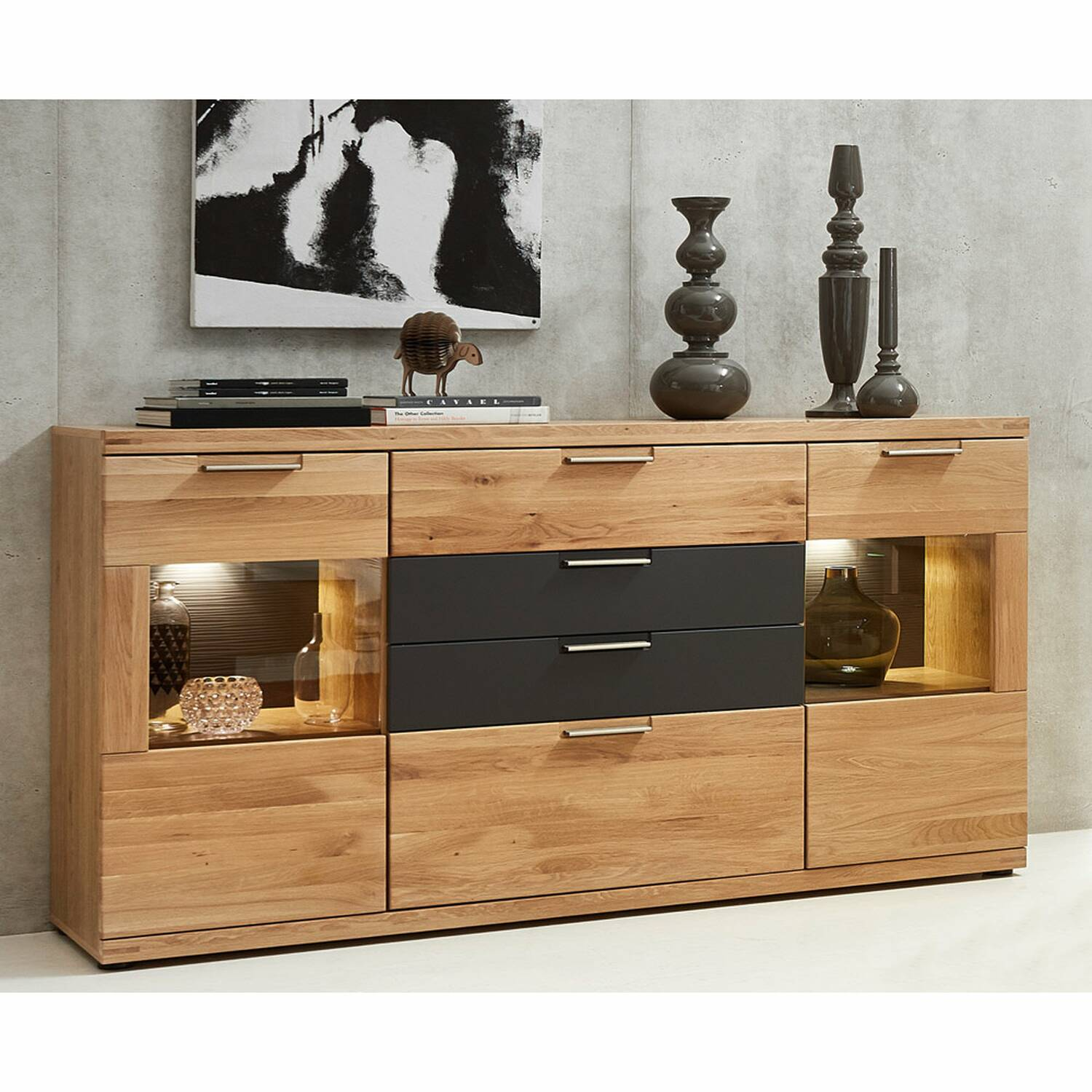 Sideboard inkl. LED-Beleuchtung BOZEN-36 Wildeiche Bianco Massivholz Fronten B/H/T 165x94x42cm