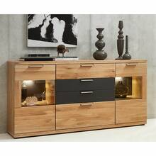 Sideboard inkl. LED-Beleuchtung BOZEN-36 Wildeiche Bianco...