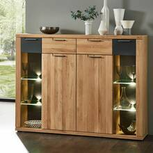 Highboard in wild oak Bianco incl. LED lighting BOZEN-36...