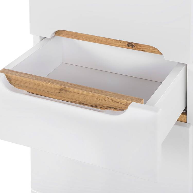 Badezimmer Hochschrank SOLNA-56 inkl. Standfüßen, Hochglanz weiß, B x H x T  ca. 35 x 187 x 33cm
