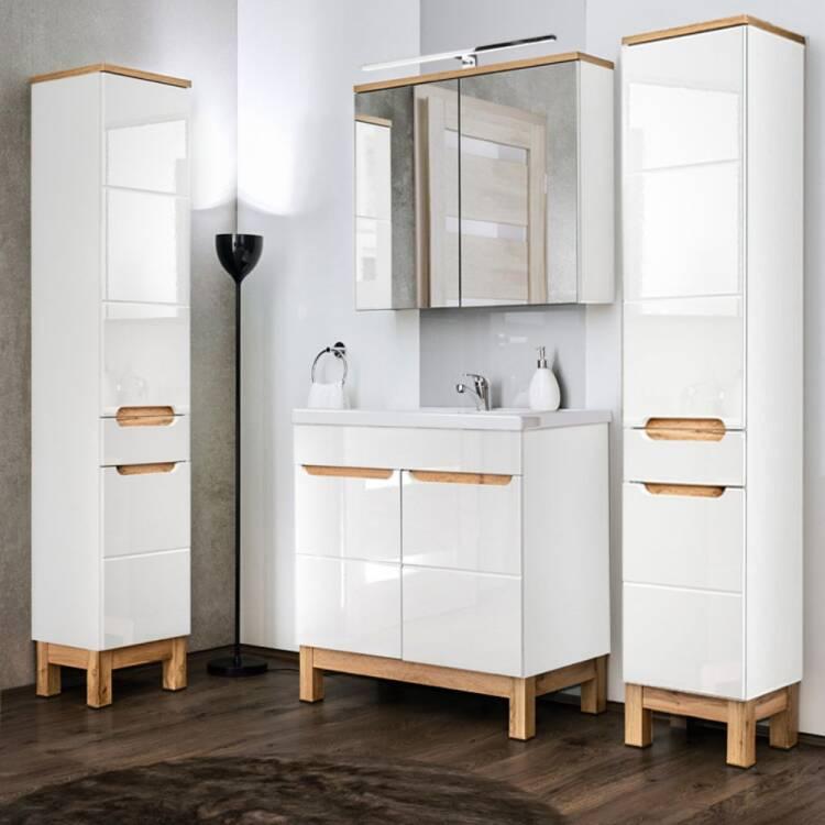 Waschtischunterschrank 80 Cm Solna 56 Hochglanz Weiss Mit Wotaneiche B