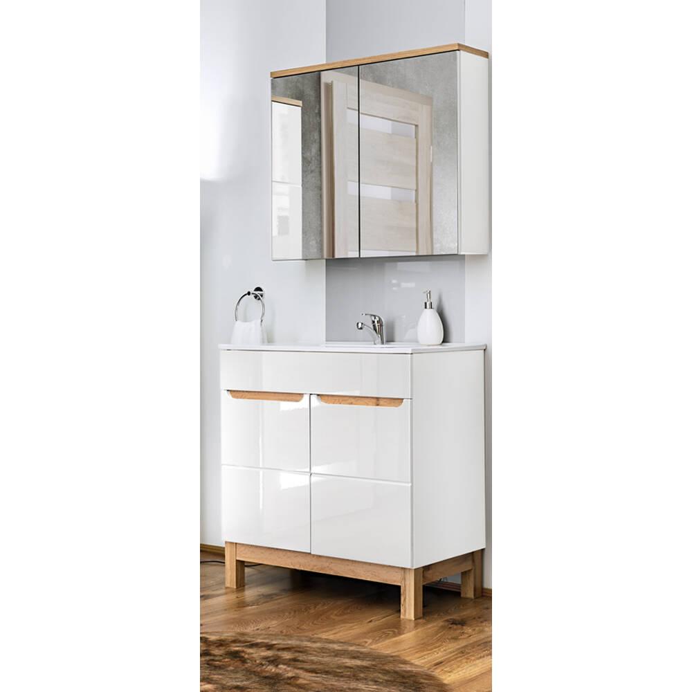 Badmöbel Waschplatz Set inkl. Keramikwaschtisch 60 cm 2-teilig SOLNA-56 Hochglanz weiß inkl. Standfüßen BxHxT ca.: 60 x 200 x 45 cm