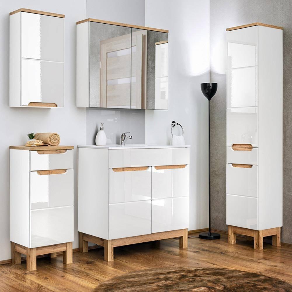 Komplett Badmöbel Set 5-teilig 60 cm mit Keramikwaschtisch SOLNA-56 Hochglanz weiß inkl. Standfüßen BxHxT ca.: 160 x 200 x 45 cm