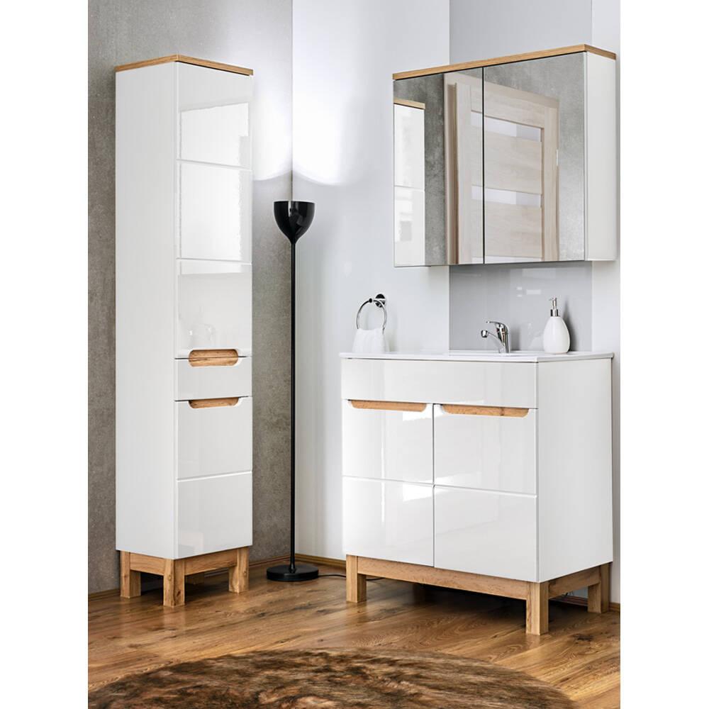 Badmöbel Set 3-teilig 80 cm mit Keramikwaschtisch SOLNA-56 Hochglanz weiß inkl. Standfüßen BxHxT ca.: 130 x 200 x 45 cm