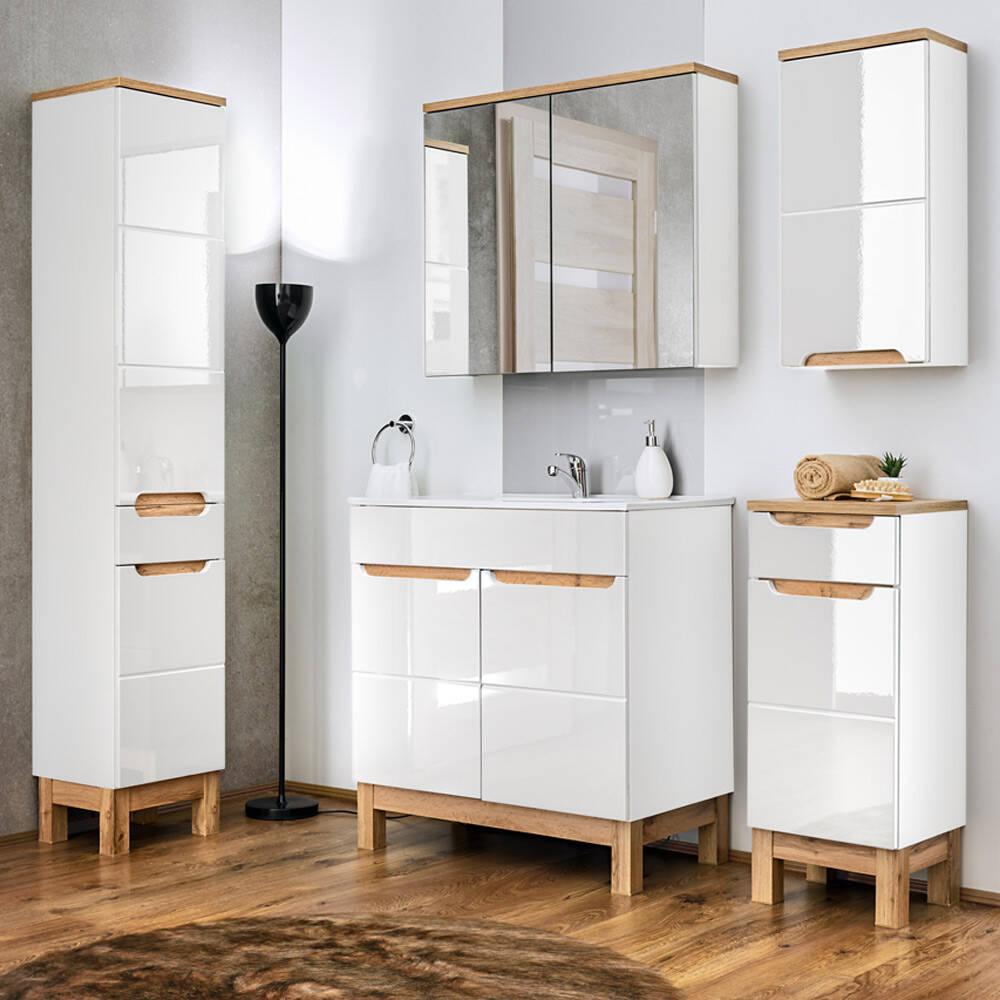 Badmöbel Set 5-teilig 80 cm mit Keramik Waschbecken SOLNA-56 Hochglanz weiß inkl. Standfüßen BxHxT ca.: 180 x 200 x 45 cm