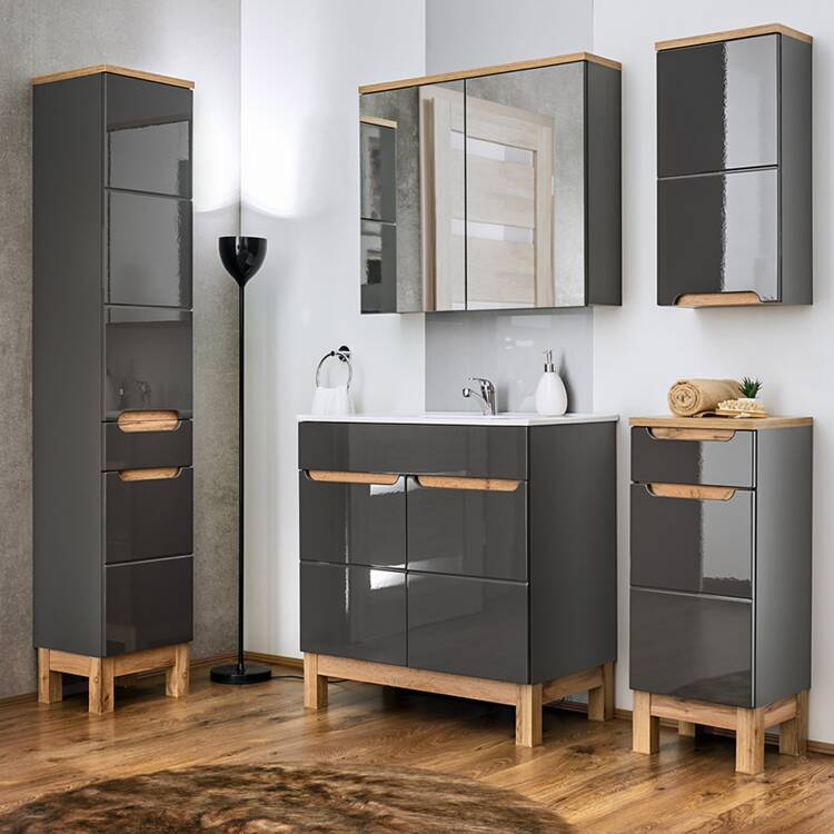 badm bel set 5 teilig in hochglanz grau inkl 60 cm. Black Bedroom Furniture Sets. Home Design Ideas