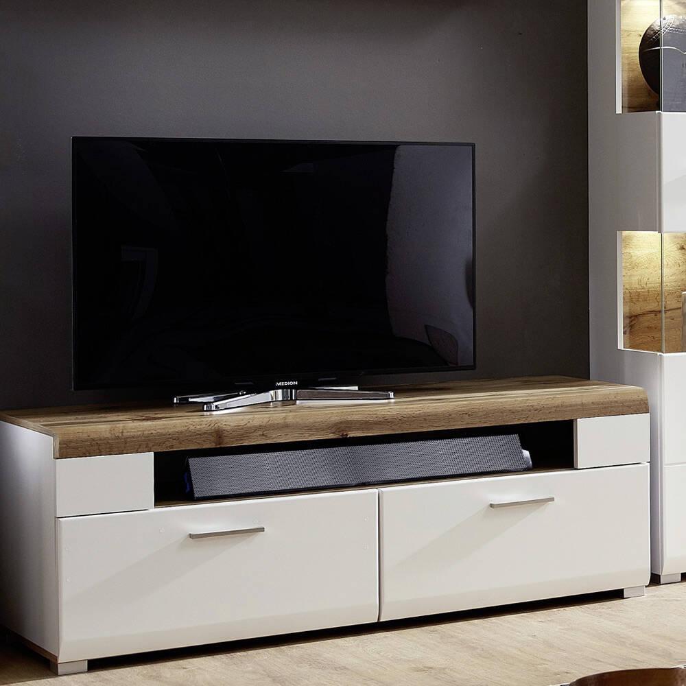 Lowboard TV-Unterteil in matt weiß mit Eiche-Altholz FARO-36 B/H/T 140x51x47cm
