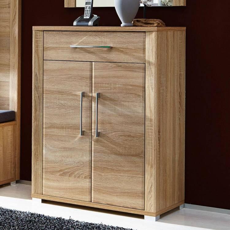 schuhschrank mit schubkasten und 2 t ren eiche sonoma hell. Black Bedroom Furniture Sets. Home Design Ideas