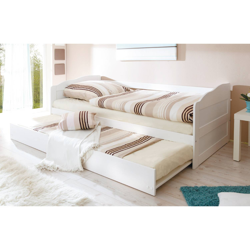 Funktionsbett Jugendbett Gästebett mit Auszug VERNIER-22 massiv weiß B96 x H69/63 x L204 cm