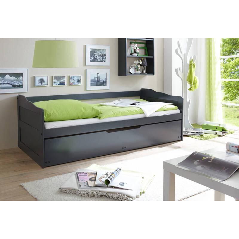 Funktions Sofabett mit 2ter Liegefläche 2x 90x200cm CATANIA-22 massiv grau lackiert B x H x T ca. 96 x 69/63 x 204 cm