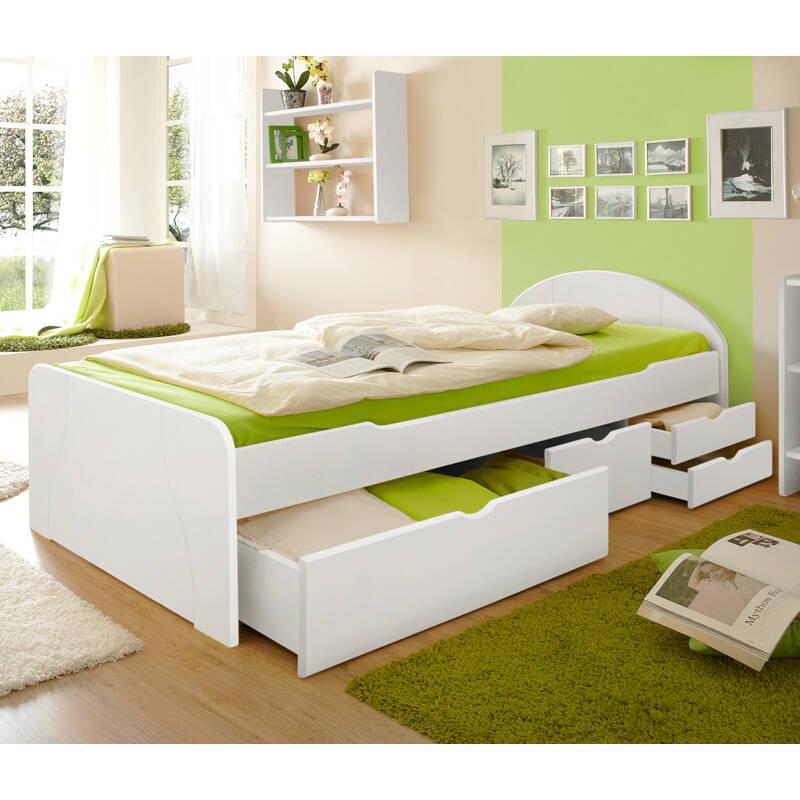 Schubkastenbett Jugendbett 90x200cm GENF-22 Kiefer massiv weiß B99 x H70/50 x L206 cm