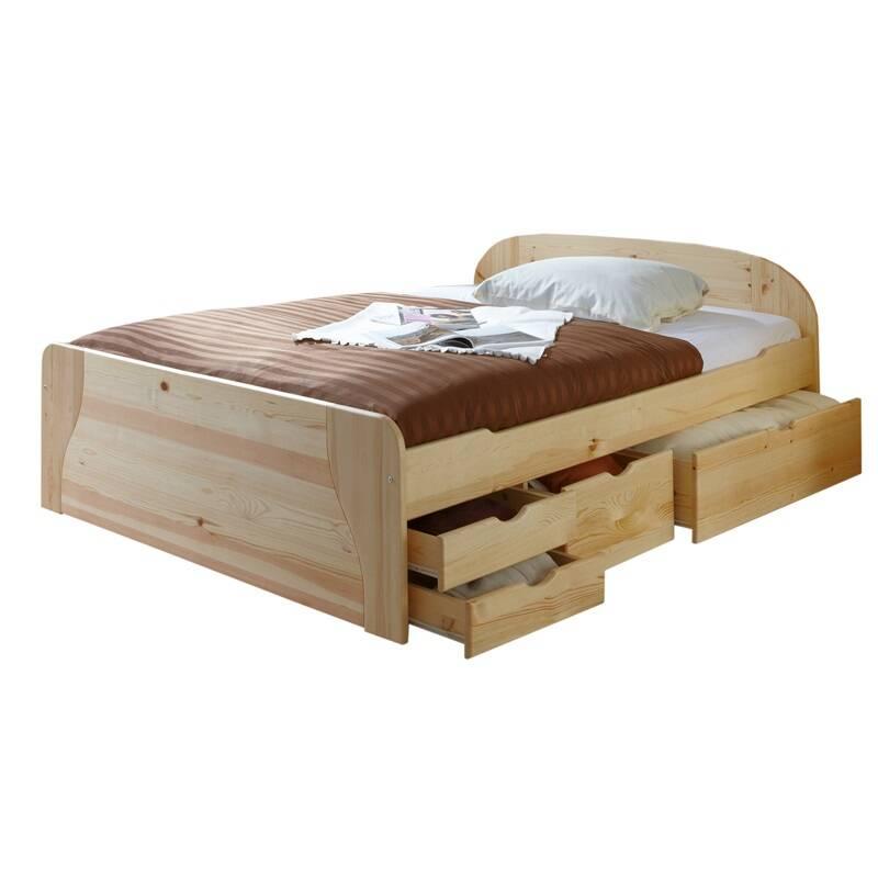 Funktionsbett Doppelbett mit Schubkästen 140x200cm GENF-22 Kiefer Natur lackiert B149 x H70/50 x L206 cm