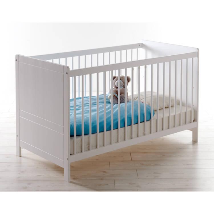 Babyzimmer Komplett LUZERN-22 massiv weiß , Babybett, Kleiderschrank,