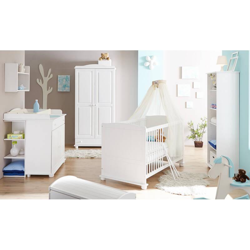Babyzimmer Komplett Set LUZERN-22 massiv weiß, 70x140cm Babybett, Kleiderschrank, Wickelkommode mit Anstellregal & Standregal