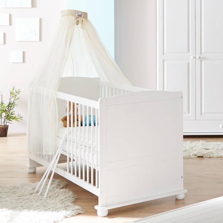 Babyzimmer Komplett Set LUZERN 22 Massiv Weiß, 70x140cm Babybett,  Kleiderschrank, Wickelkommode Mit