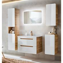 Bathroom furniture set 5 pieces high gloss white incl. 80...