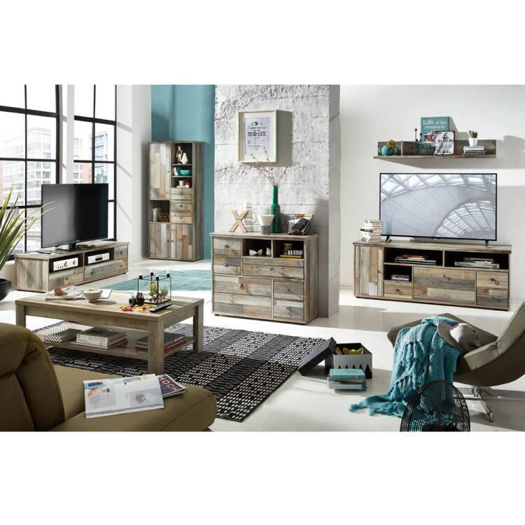 Wohnzimmer Komplett Set Driftwood braun Industrial Design BRANSON-36