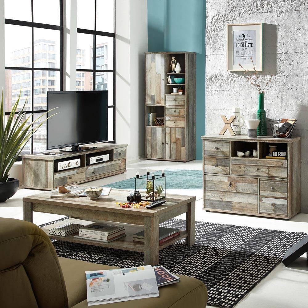 Wohnzimmerset Vintage Driftwood BRANSON-36 Couchtisch TV Lowboard Schrank Kommode