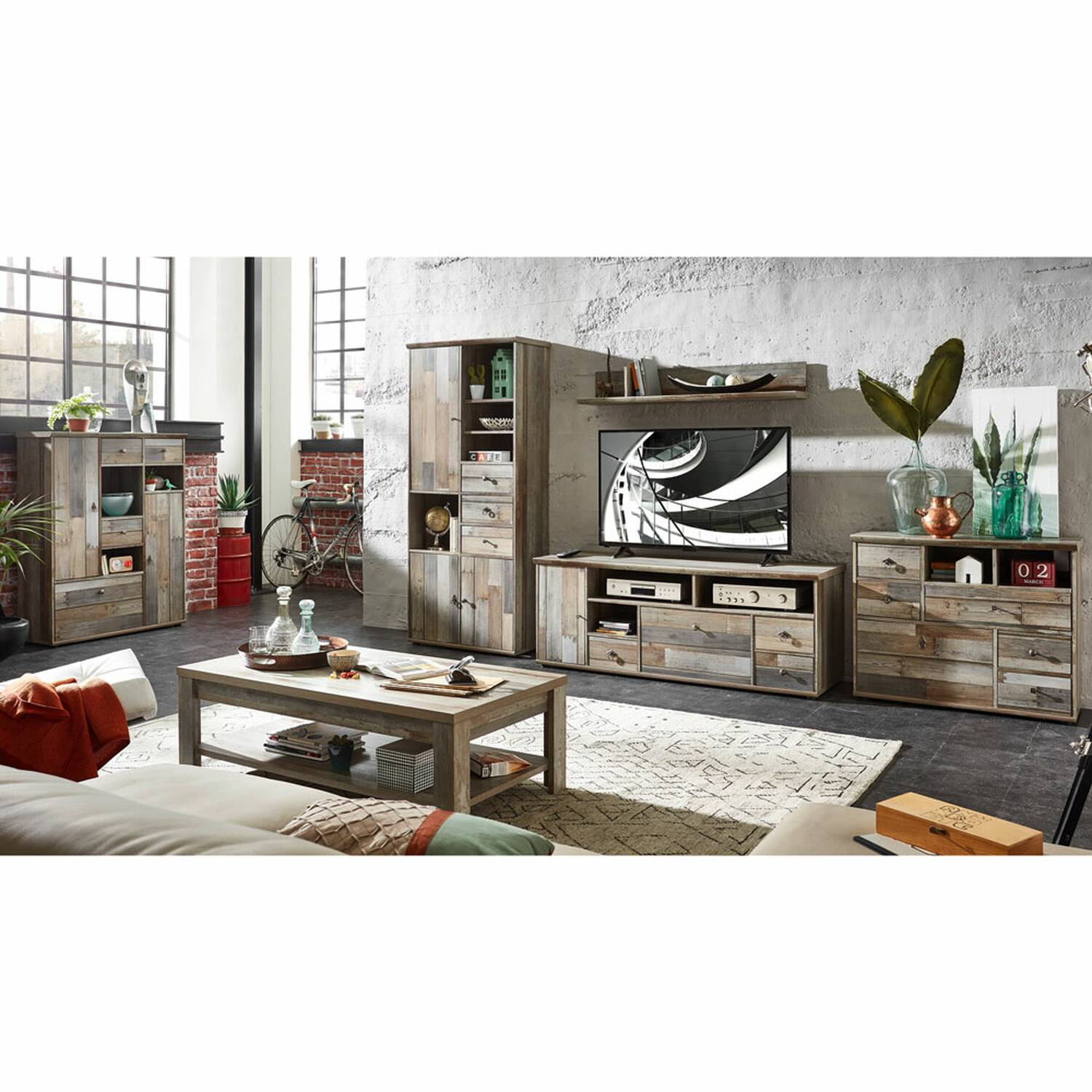 Komplett Wohnzimmer Set inkl. Couchtisch & Highboard BRANSON-36 Vintage Driftwood