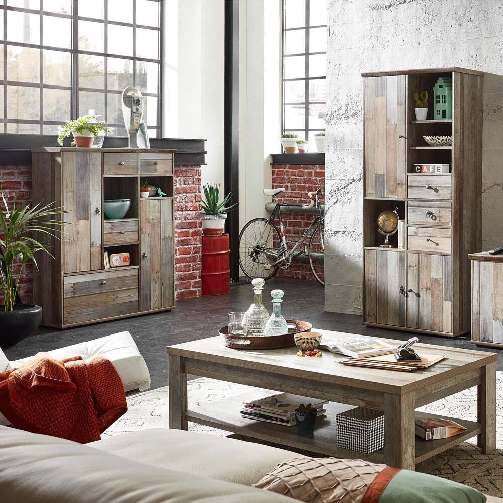 Vintage Wohnzimmerset mit Highboard Hochschrank & Couchtisch BRANSON-36 Driftwood 3tlg