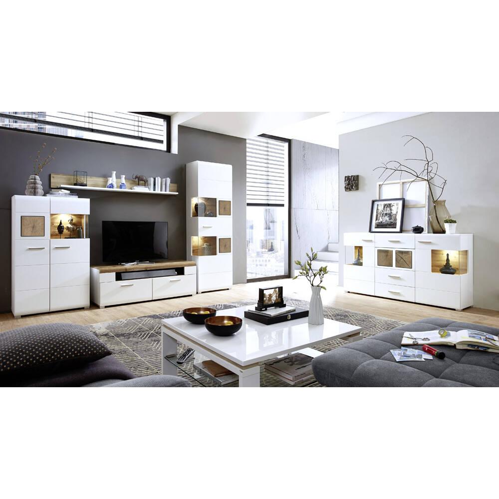 Wohnwand Komplettset mit Sideboard inkl. LED-Beleuchtung FARO-36 matt weiß mit Hirnholz Nb.