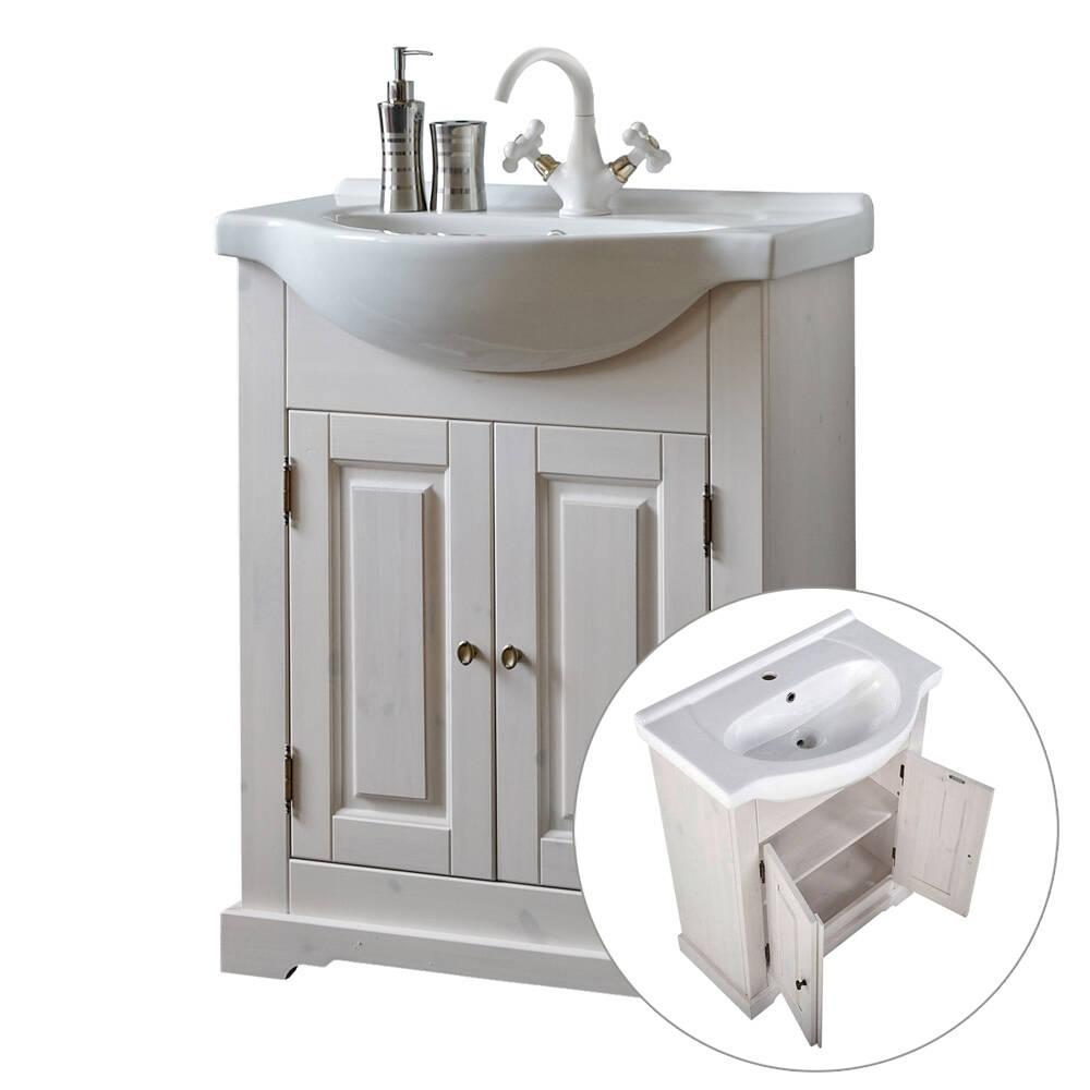 Landhaus Waschtischunterschrank inkl. Keramikwaschtisch 65 cm LIRIA-56, Massivholz Kiefer weiß, B x H x T ca. 65 x 81 x 43cm